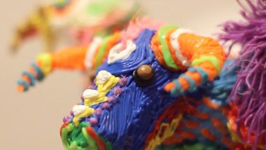 Head detail for the 3d printed sculpture of an alebrije