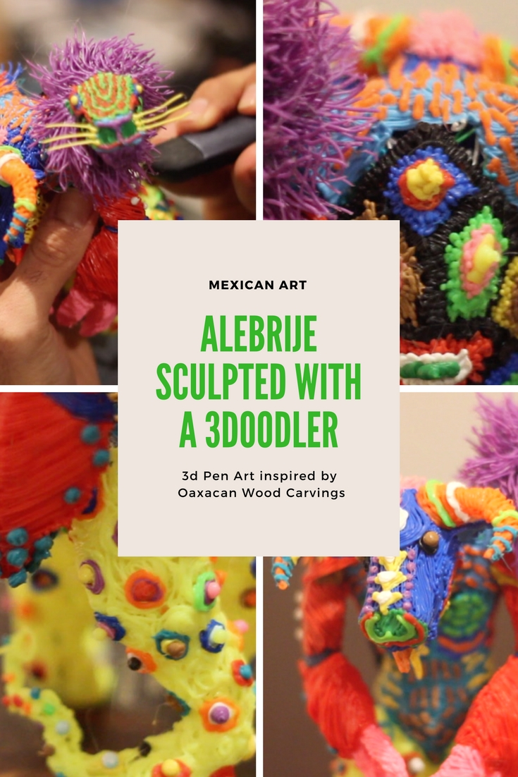 I finally created an Alebrije with a 3doodler 3d pen. Alebrijes are a Mexican art form from Oaxaca. I pay homage to these Oaxacan wood carvings with a colorful beast from my imagination!