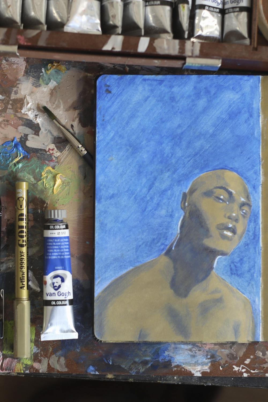 Blue Mechanical Pencil Lead Sketch on cobalt blue oil paint.