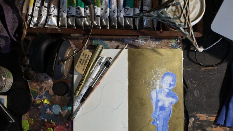 Blue mechanical pencil sketch.