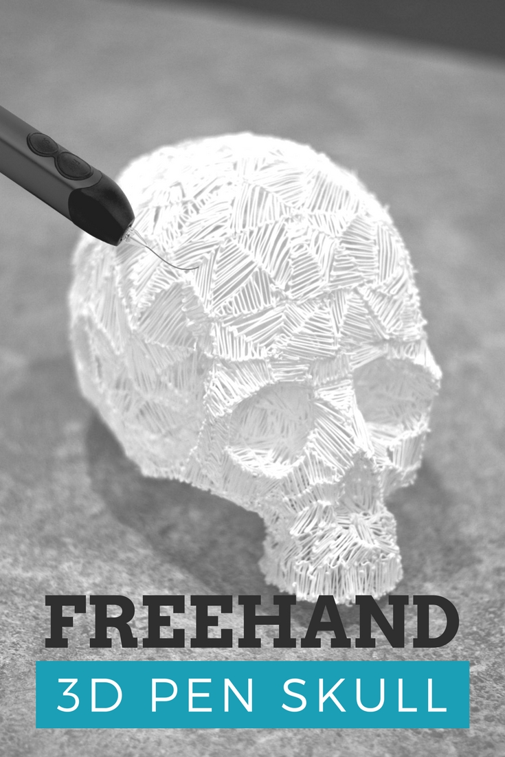 Freehand 3d sketch of a skull created with a 3doodler and white ABS plastic. Learn how to make your own through this video.