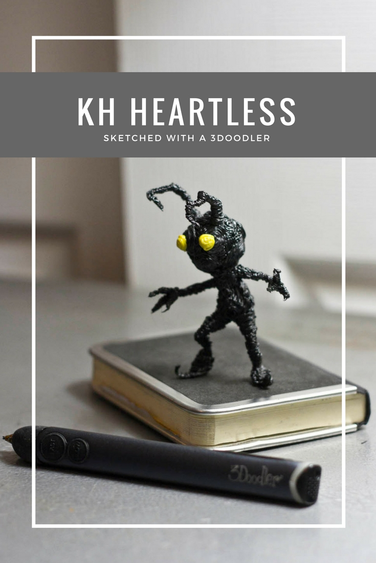 Kingdom hearts Heartless sculpted with a 3Doodler 3d pen by Riikc