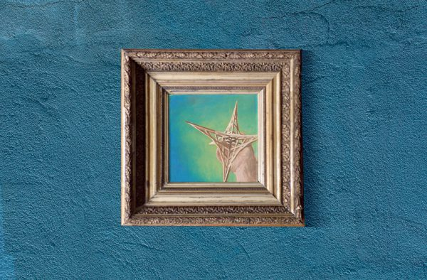 """""""La Estrella"""" Oil painting based on the Mexican lotería card, and created from one of my first sculpture sketches"""
