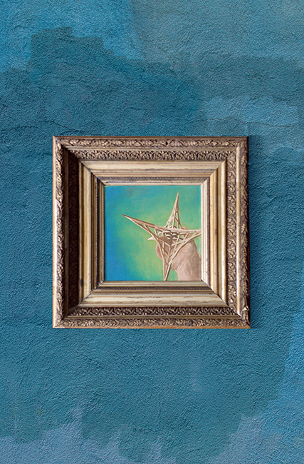 La Estrella, oil painting on canvas, based on one of my first sketches for a sculpture and part of my lotería series.