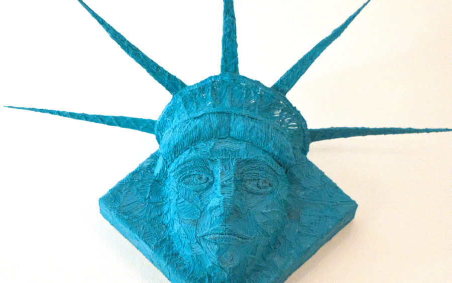 Lady Liberty sketched with a 3d pen on Canvas — 3Doodler art by Riikc