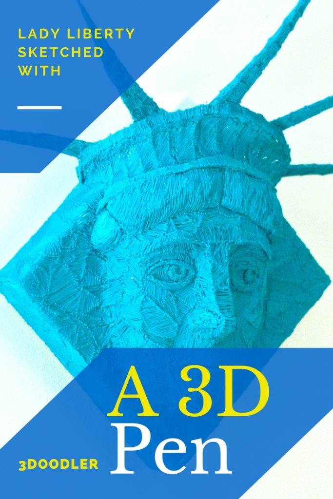 Lady Liberty from the NYC Statue of Liberty, sketched with a 3Doodler 3d pen on canvas. 3D paintings by Riikc