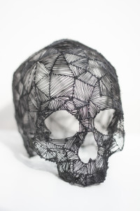 3d skull sketched with lix pen