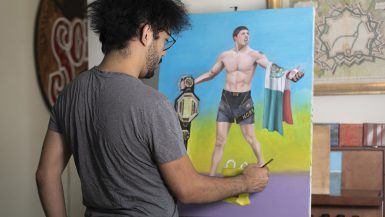 """Painting in progress — Portrait of Brandon Moreno as """"el Valiente"""" from the mexican loteria cards."""