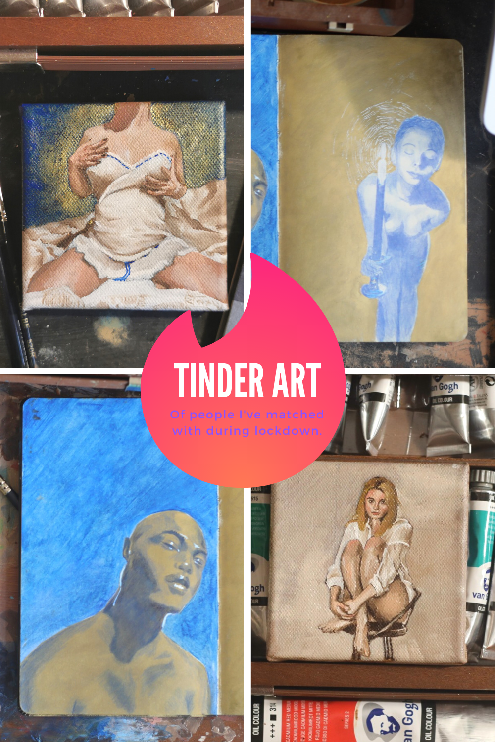 Tinder Art — Sketches and paintings I've made of my tinder muses, people I've met during lockdown in Brussels